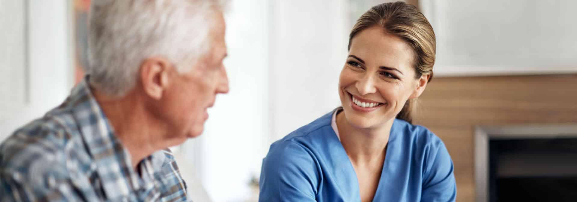 Caregiver talking a client