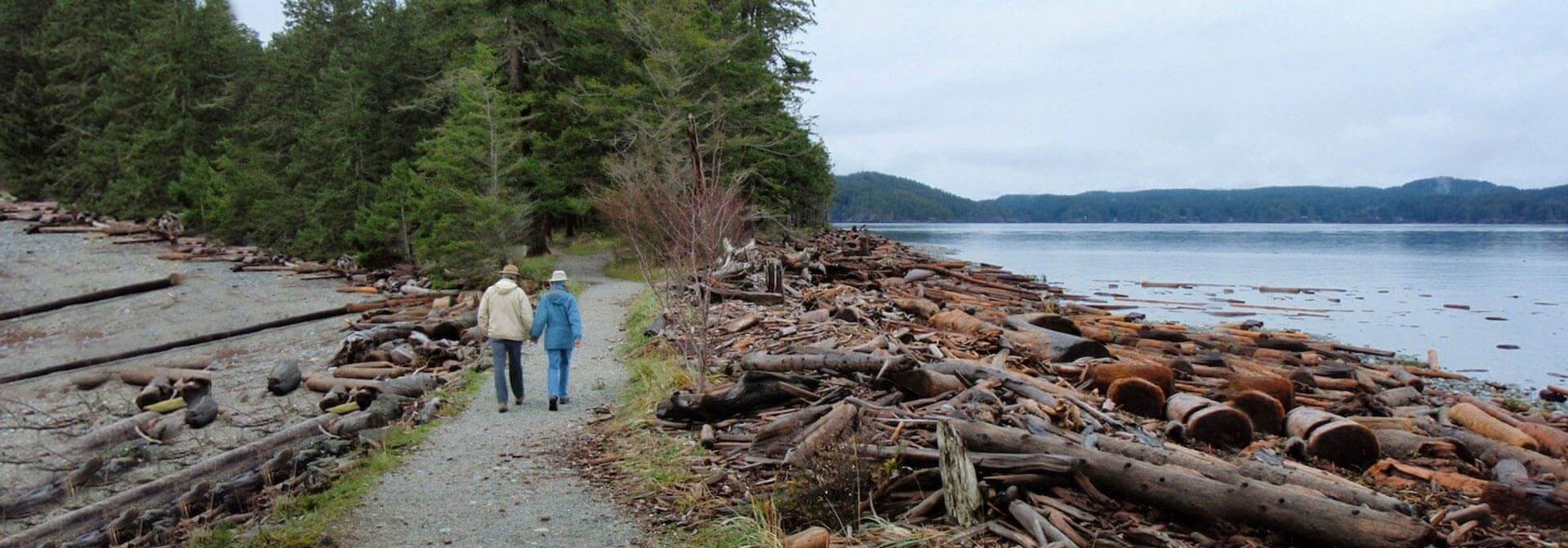 Couple walking through Quadra Island